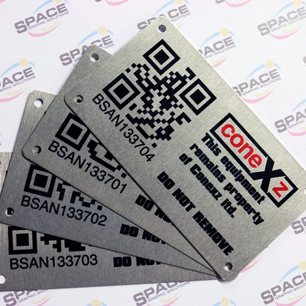 Space Graphic Solutions Warwickshire Sequentially Numbered Labels metal labels and vinyl labels Printed labels